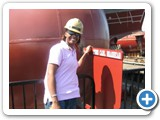 This is Lauren with the official hardhat during her ship inspection tour.