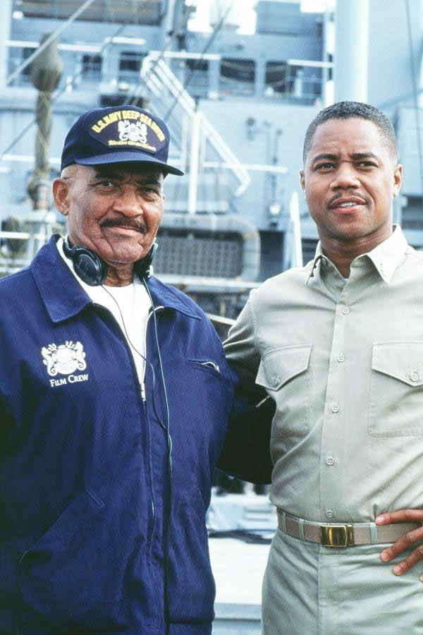 MDV Brashear and Cuba Gooding on the set of Men of Honor